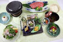 Stone-cooked Wagyu beef set meal