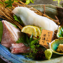 Squid sugata-zukuri (sliced sashimi served maintaining the look of the whole squid)