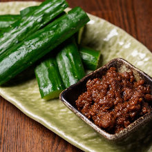 Cucumbers with miso flavored ground meat