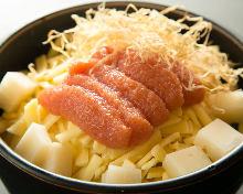 Spicy marinated cod roe, mochi, and cheese okonomiyaki