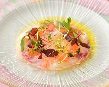 Carpaccio prepared with fresh fish of the day