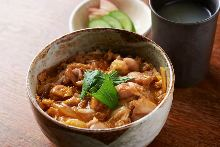 """Oyako"" locally raised chicken and egg rice bowl"
