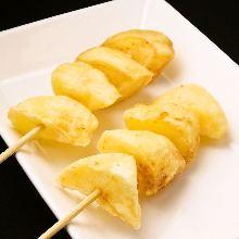 Fried cheese skewer