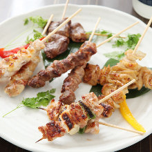 Grilled chicken thigh skewers with green onions