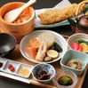 Dashi-chazuke dinner with a whole cooked conger eel tempura and oden assortment