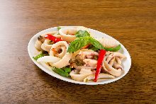 Squid with basil sauce
