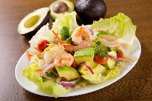 Avocado and seafood salad