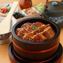 Chopped premium kabayaki eel on rice