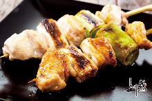 Negima (green onion pieces and chicken)