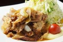 Grilled ginger pork meal set