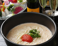 Udon with creamy broth and spicy cod roe
