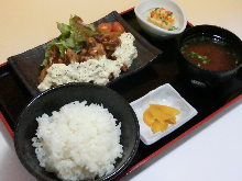 Tuna namban (fried tuna in sweet-peppary sauce) topped with tartar sauce
