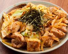 Stir-fry with Okinawan chili oil