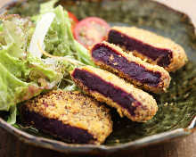 Purple sweet potato croquette