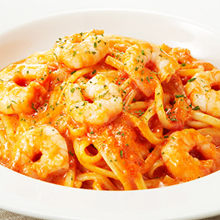 Tomato cream sauce pasta with shrimp