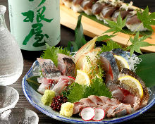 Assorted blue-backed fish sashimi