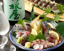 Assorted blue-backed fish sashimi