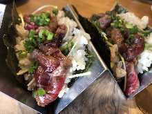Seared horse meat nigiri sushi