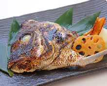Grilled fish head