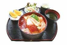 Seafood rice bowl meal
