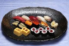 Assorted nigiri sushi with miso soup
