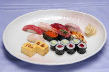 Assorted premium nigiri sushi with miso soup