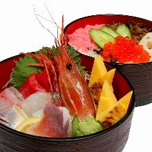 Chirashizushi with miso soup