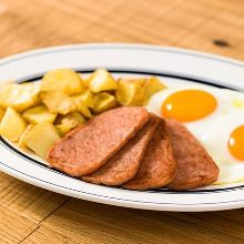 Luncheon meat and egg