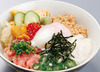 Rice Bowl with Sticky 5-Color Topping, with Onsen egg
