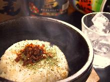 Hot stone garlic rice