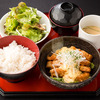Meal tray with fried Miyazaki local chicken marinated in spicy sour sauce with tartar sauce