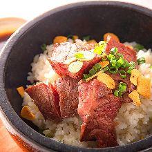 Meat topping garlic rice