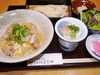 Lunch Set of rice topped with chicken and egg of Hinai local chicken