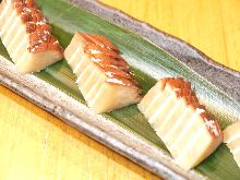 Cheese and iburi gakko (smoked daikon pickles)