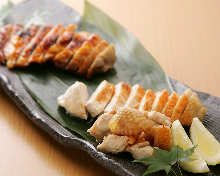Assorted grilled cuts of Jidori chicken