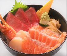 Seafood rice bowl with salmon, chutoro (medium fatty tuna), scallop, and crab claw