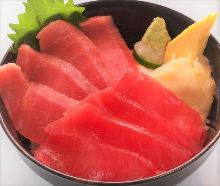 Chutoro (medium fatty tuna) and tuna rice bowl