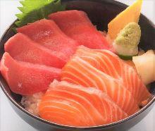 Salmon and chutoro (medium fatty tuna) rice bowl