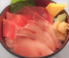 Young yellowtail, chutoro (medium fatty tuna), and tuna rice bowl