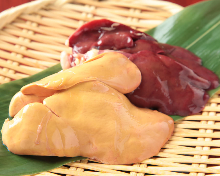 Seared locally raised chiken white liver