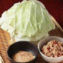 Cabbage with miso and ground chicken dip