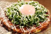 Pork and spring onion okonomiyaki