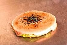 Marinated roe and cheese okonomiyaki