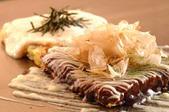 Pork, spicy cod roe, and cheese okonomiyaki