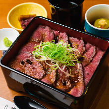 Wagyu beef steak in a lacquered box