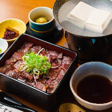 Wagyu beef steak in a lacquered box, with boiled tofu