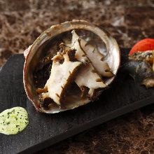 Live abalone sashimi