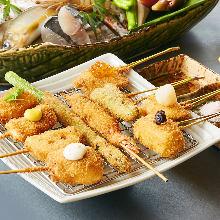 Assorted fried cutlet skewers