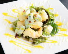 Shrimp and avocado with mayonnaise dressing