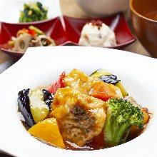 Vegetables with black vinegar sauce based ankake sauce